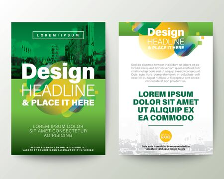 Green Brochure cover Flyer Poster design Layout vector template. Abstract gradient rounded shape graphic element with space for photo background.