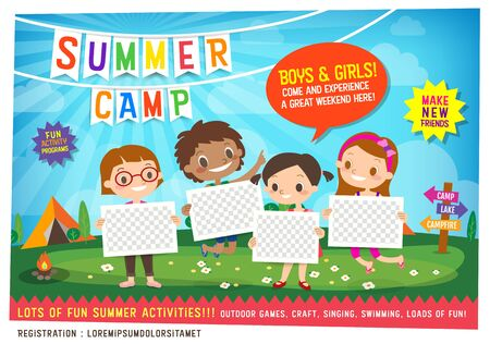 kids summer camp education advertising poster flyer template Illustration