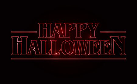 Happy Halloween text design, Happy Halloween word with Red glow text on black background. 80's style, eighties design. Vector illustration