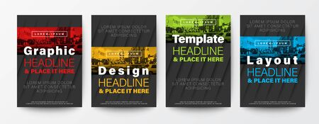 Set of Graphic Design template layout. Red, yellow, green, blue color stripe on black background for Brochure, Flyer, Poster, leaflet, Annual report, Book cover,  A4 size