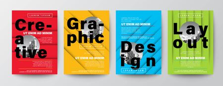 Set of Creative Graphic Design layout. Typography on Red, yellow, blue and green color background for Poster, Brochure, Flyer, leaflet, Annual report, Book cover, banner. Template in A4 size.