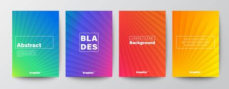 Set of minimal abstract diagonal line turbine blade on vivid gradient colors background for Brochure, Flyer, Poster, leaflet, Annual report, Book cover, Graphic Design Layout template, A4 size.