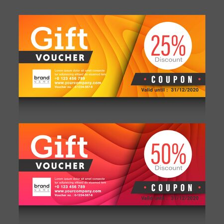 Red, yellow gift voucher certificate coupon design template.  Ilustrace