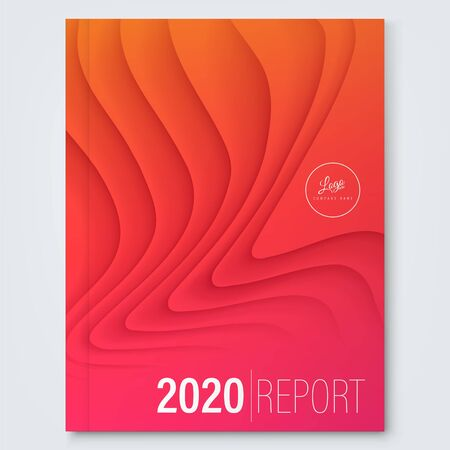 cover design template. Minimal abstract curved wave shape on red gradient color background. annual report cover, brochure, poster. Ilustrace