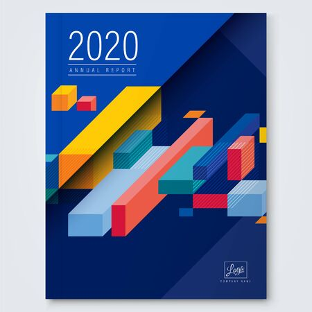 colorful isometric cube box shape on blue background for business annual report, book cover, brochure, flyer, poster.