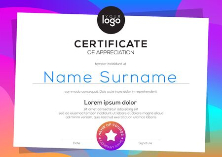 Modern certificate of appreciation template. blank award diploma with colorful vibrant gradient background