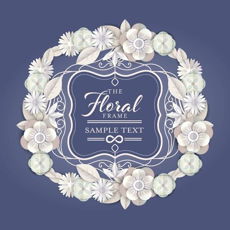 abstract white floral wreath with vintage border vector illustration. white elegant flower frame with paper cut style graphic.