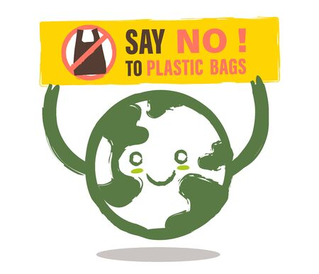 Smiling earth cartoon with Say NO to plastic bag sign. Environmental problem concept illustration.  Vectores