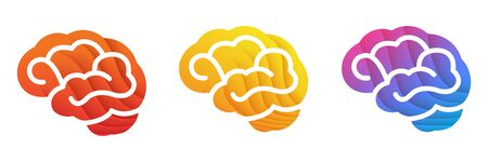 Colorful Brain icon. Red, Yellow, Blue gradient colors brain illustration isolated on white background.