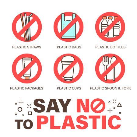Set of no plastics sign. Environmental problem concept. Simple design, stroke outline style icon. Illustration