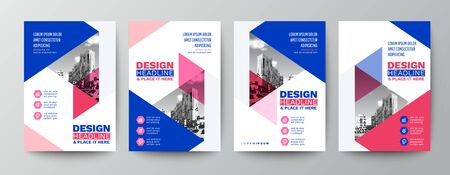 modern blue and pink design template for poster flyer brochure cover. Graphic design layout with triangle graphic elements and space for photo background Ilustrace