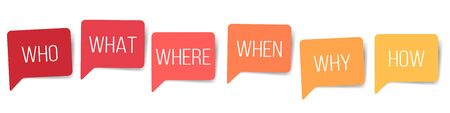 WHO WHAT WHERE WHEN WHY HOW 5W1H questions speech bubbles isolated on white background. vector design elements.