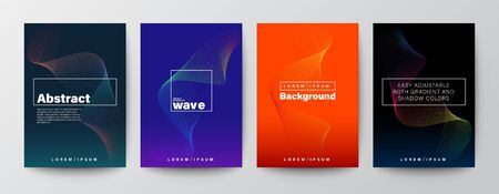 Set of abstract gradient colorful wave shape on colors background for Brochure, Flyer, Poster, leaflet, Annual report, Book cover, Banner. Graphic Design Layout template, A4 size
