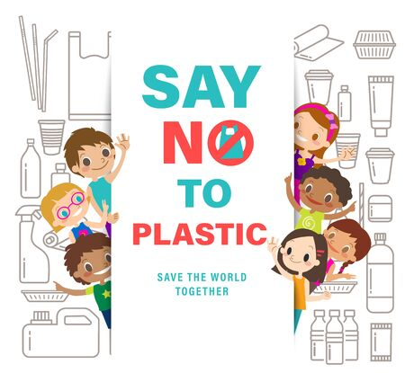 Diverse Group Of Kids with Say no to plastic sign on white background. save the world campaign. plastic packaging line icons style. Vector cartoon illustration.