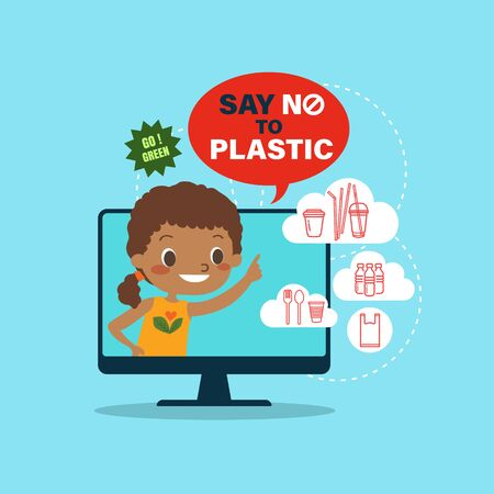Say no to plastic campaign illustration. Latin America boy cartoon with plastic packaging icons. Environmental problem concept. Ilustrace