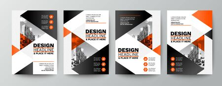 modern orange and black design template for poster flyer brochure cover. Graphic design layout with triangle graphic elements and space for photo background Ilustrace