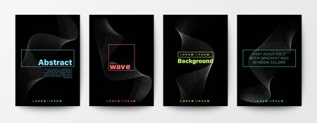 Set of abstract flow wave shape on black background for Brochure, Flyer, Poster, leaflet, Annual report, Book cover, Banner. Graphic Design Layout template, A4 size Illustration