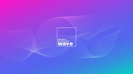 Abstract wave shape on gradient vivid bright magenta blue background. Minimal futuristic design backdrop. Illustration