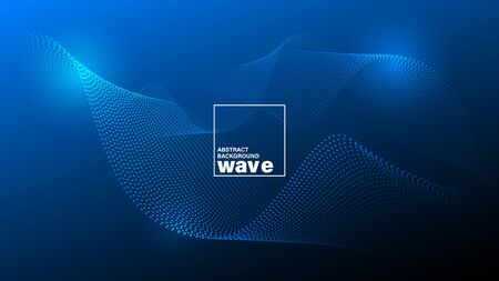 Abstract glowing wave shape on dark blue background. Minimal futuristic design backdrop.