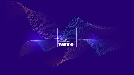 Abstract wave shape on neon blue violet background. Minimal futuristic design backdrop. Stock Illustratie
