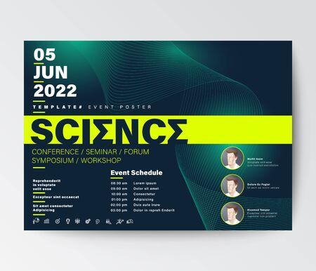 Science conference business design template. Futuristic green wave background for seminar event poster, leaflet, banner, presentation.