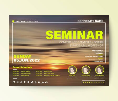 Business conference design template. Abstract sunset background for seminar event poster, invitation, leaflet, banner, presentation. Ilustrace