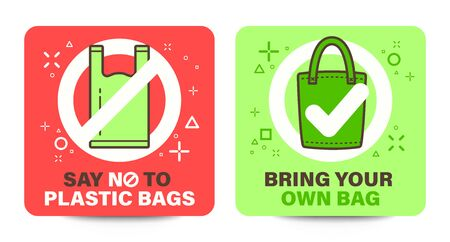 """Plastic bag signage with Say no to plastic bags word. Cloth bag signage with """"Bring your own bag"""" word. Green eco concept vector illustration."""