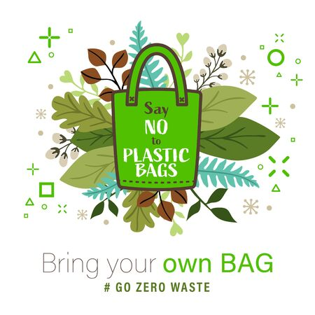 Green Cloth bag with Say no to plastic bags word on leaves background. Eco concept vector illustration.