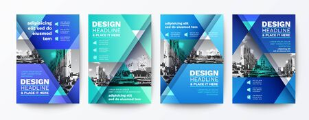 modern blue and green design template for poster flyer brochure cover. Graphic design layout with triangle graphic elements and space for photo background Ilustrace