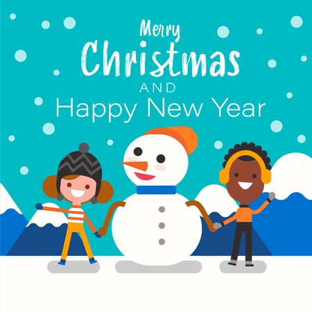 Merry Christmas and Happy New Year. Christmas Cute Snowman, Boy and Girl Cartoon Character.