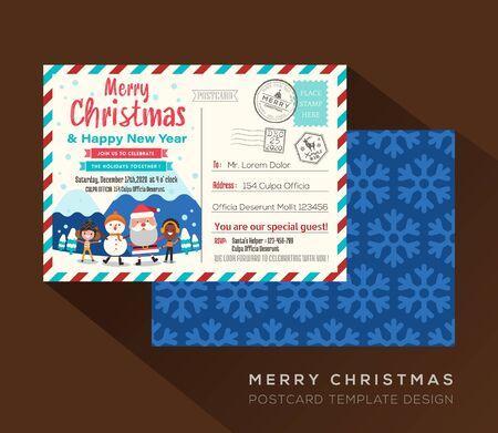 Merry Christmas postcard invitation card design Vector Template