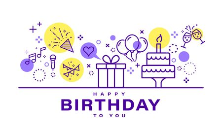 Birthday card design. Celebration party illustration. Party elements icons in line style on white background. Иллюстрация