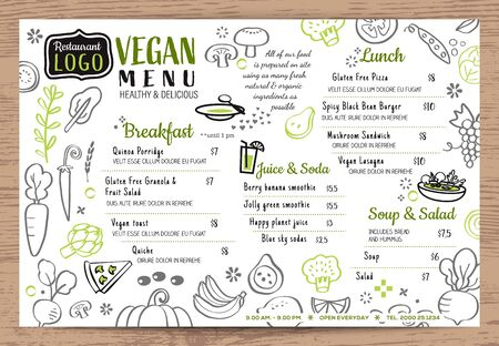 Green organic food, Vegan restaurant menu, board or place mat vector template. Vegetables doodle background.