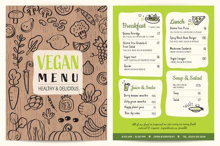Vegan restaurant menu. Green organic food board vector template. Vegetables doodle on wooden background.
