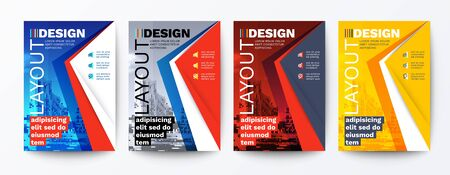 modern blue, red, yellow design template for poster flyer brochure cover. Graphic design layout with triangle graphic elements and space for photo background Ilustrace