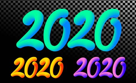 2020 number. colorful neon gradient color 3D text design isolated.