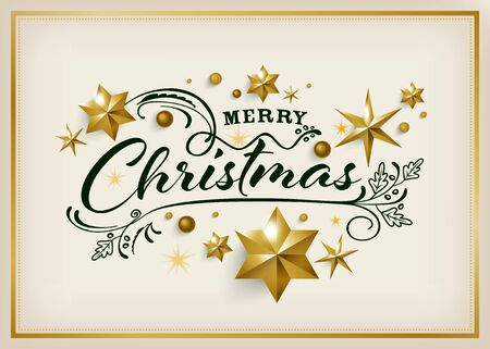 Merry Christmas greeting card with golden star background Ilustrace
