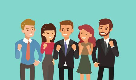 happy business team with fist up gesture. teamwork and togetherness concept vector cartoon illustration.