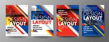 Set of Creative Graphic Design layout. Typography on diagonal grid with red and blue background for Poster, Brochure, Flyer, leaflet, Annual report, Book cover, banner. Template in A4 size. Ilustrace