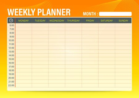 Simple Weekly schedule planner template with orange to yellow gradient color background, A4 size