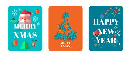 Vector Merry Christmas and Happy New Year greeting card set with cute santa claus. Ilustrace