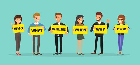 Group of business people holding board with WHO WHAT WHERE WHEN WHY HOW Questions. 5W1H concept vector cartoon character illustration.