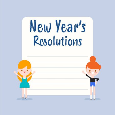 New years resolutions list. Cheerful kids cartoon with blank white board illustration in flat design style.