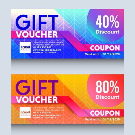 colorful gift voucher certificate coupon design template. Ilustrace
