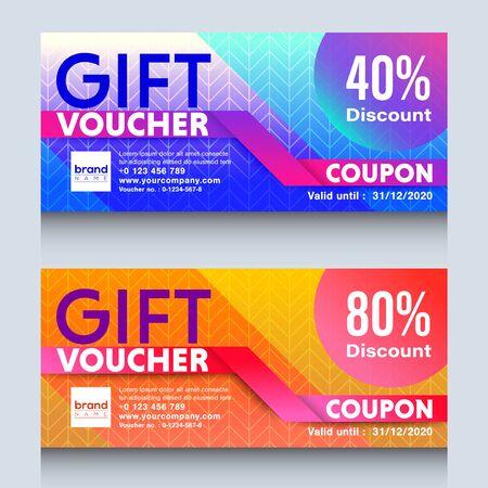 modèle de conception de coupon de certificat de chèque-cadeau coloré. Vecteurs