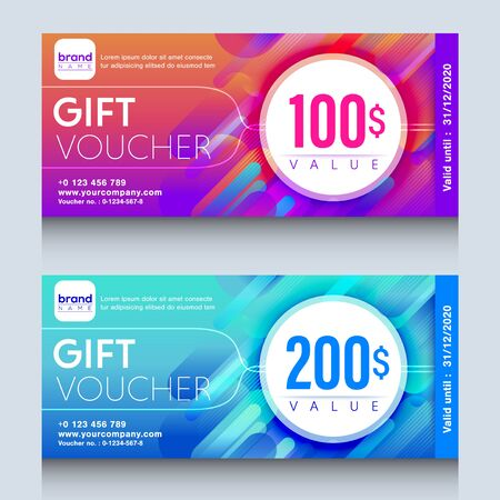 vibrant colorful gift voucher certificate coupon design template.