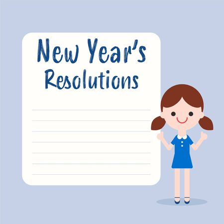 New years resolutions list. Cheerful little girl cartoon with blank white board illustration in flat design style.