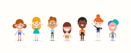 Smiling kids character in flat design style isolated. Diversity children cartoon vector illustration.