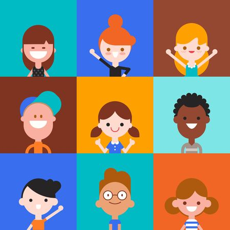 Happy kids character in flat design style isolated on colorful background. Diversity children portrait avatar cartoon vector illustration.