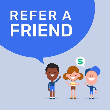 Refer a friend. Referral marketing concept. Cheerful kids cartoon illustration in flat design style. Ilustrace